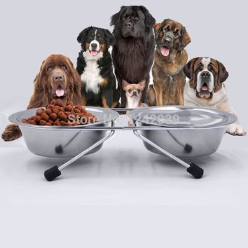 Dog stainless steel double bowl with stand anti-skid