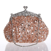 Blush Party Clutch With Beads And Sequins