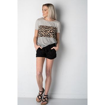 Heather Gray Striped and Leopard Colorblock Top