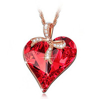 Ruby Heart Pendant Necklace with Bow Design, Made With Swarovski Crystals