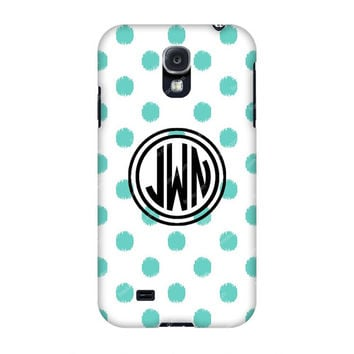 Monogram Samsung case, Monogram Galaxy s4 -Monogram Samsung s4-Teal Dots Monogrammed Samsung case,Customized Samsung Galaxy case