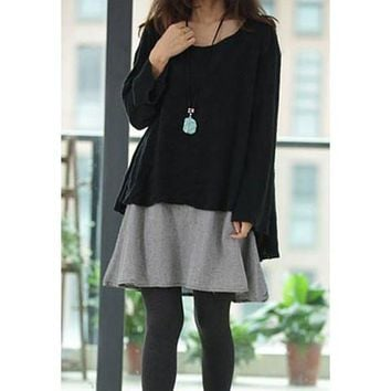 Contrast Color Twinset Long Sleeve Dress