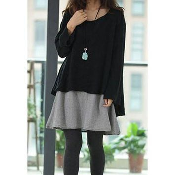 Black Long Sleeve Ruffled Two Piece Dress
