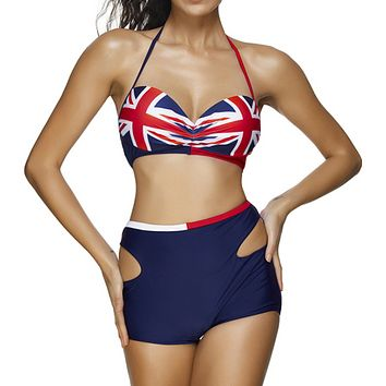 Fashion Summer New National Flag Print Wading Sports Swimsuit Straps Two Piece Bikini