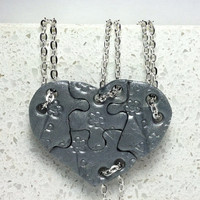 Heart Shaped Puzzle Necklaces Set of 4 Interlocking Necklaces Silver  Polymer Clay Set 239