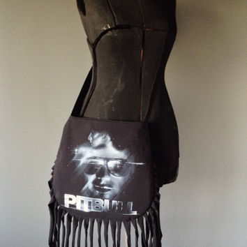 PITBULL - Upcycled Rock T-Shirt Fringe Purse - ooak