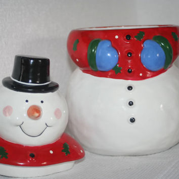 Vintage Snowman Cookie Jar, Coco Dowley Snowman Cookie Jar