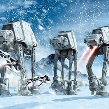 Movie STAR WARS AT-AT Walkers In The Frozen Poster Hoth Wall Sticker 22x34 inch