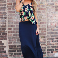 Luxe Resort Maxi Skirt - Navy