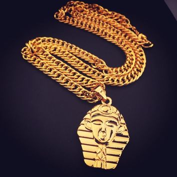 New Fashion Pharaoh Chief Head Pendant Necklace Indian Chief Charm Hip Hop Unisex Necklace Jewelry