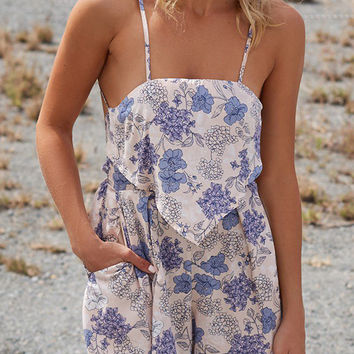 Multicolor Floral Layered Backless Cami Strap Romper Playsuit