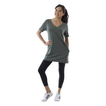 Loose Fit V-Neck Sweatshirt Tunic