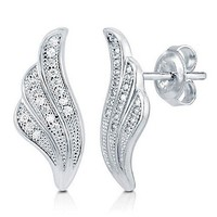 Micro Pave Cubic Zirconia Sterling Silver Rococo Feather Stud Earrings #e925