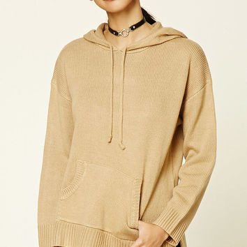 Hooded Ribbed Knit Sweater