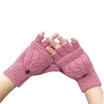 Newly Design Women Girl Winter Warm Fingerless Gloves Covering Mittens Oct6