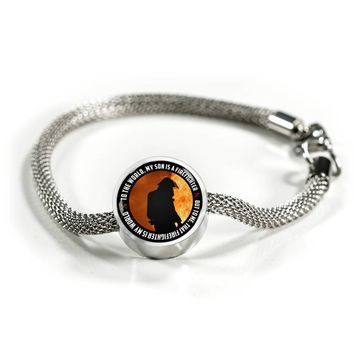 'My Son Is a Firefighter' Personalized Luxury Circle Charm Bracelet