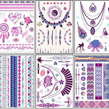 New Release, Dalin 6 Sheets Purple Silver Blue Metallic Temporary Tattoos Glitter Art Trendy Designs - Elephant, Sheep, Cat, Feather, Rose, Moon, Heart, Flower and More