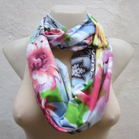 infinity scarf Loop scarf Neckwarmer Necklace scarf Fabric scarf  White Pink  Green Blue
