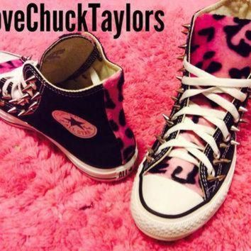 QIYIF custom converse pink leopard faux fur spiked chuck taylor all star shoe