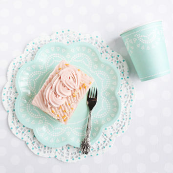 Shop Sweet Lulu - Lovely Lace Collection: Aquamarine Tableware - Paper Plates and Cups