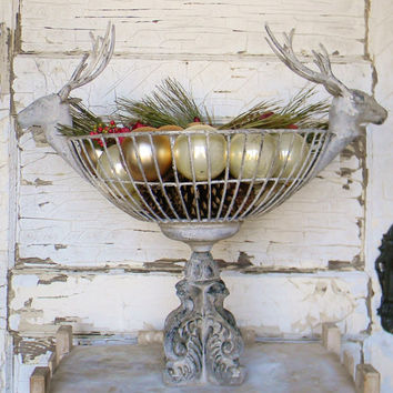 Rustic Deer Basket,Deer Basket, Metal Basket with Deer Antlers,Deer Antlers Basket,Rustic Decor,Lodge Decor,Cabin Decor,Rustic Christmas
