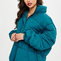 Missguided - Teal Oversized Padded Jacket