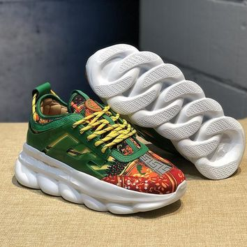 DCCK V005 Versace Fashion Breathable Height Increasing Shoes Green Yellow Orange