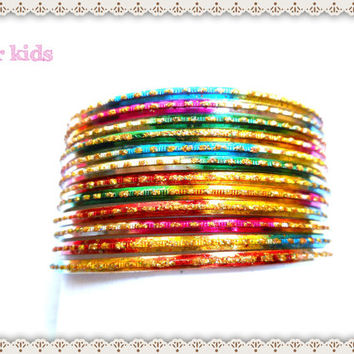 kids Indian bangles set of 6 | multicolor bangles | Indian bracelet | children bangles | metal bangles | Indian bangles |bangle bracelet