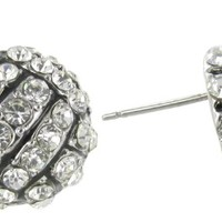 Volleyball Rhinestone Stud Earrings with Clear Crystals and Black Enamel Stripes