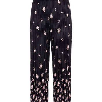 Black Floral Border Print Plisse Trousers | New Look