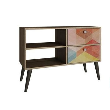 Accentuations by Manhattan Comfort Practical Dalarna TV Stand with 2 Open Shelves and 2- Drawers in Oak and Coloful Stamp Door
