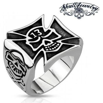 'Lucky 13' Big & Bold Skull Celtic Cross Ring (015)