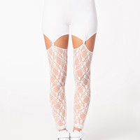 Lace and Mesh Cutout Leggings