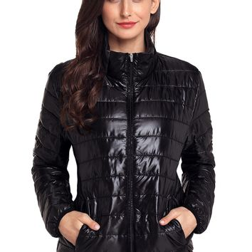 Chicloth Black High Neck Quilted Cotton Jacket