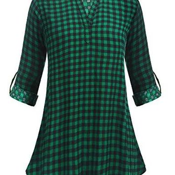 ELESOL Womens Casual Long Sleeve Tunic VNeck Buffalo Plaid Shirts Pullover Top
