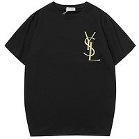 YSL 2019 summer new casual loose men and women short-sleeved T-shirt Black