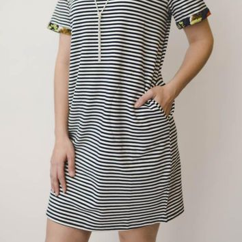 Striped Dress w/ Floral Accents - White
