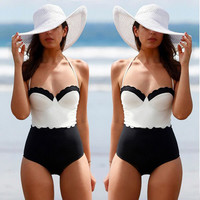 2016 New Women Sexy High Waist Swimwear One Piece Swimsuit White and Black Patchwork Swimming Suit For Women Bathing Suit A056