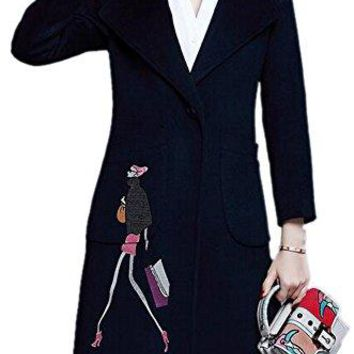 Women's Plus Size Embroidered Lapel Single-Breasted Long Trench Woolen Coat