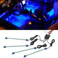 LEDGlow 4-Piece Single Color LED Interior Underdash Lighting Kit - Blue