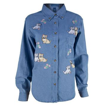 CREYCY8 Kittens And Flowers Patch Denim Women's Collared Shirt