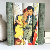 Couple on Roller Coaster Decorative Books, Romantic Couple Decorative Book Set, Personalized Anniversary Gift, Lovers, Wedding Prop, Pop Art