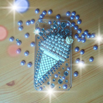 DIY iphone 4/4s case.handmade ice cream case.jewelry and clear case.