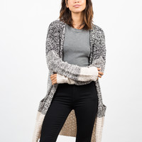 Colorblock Boucle Cardigan