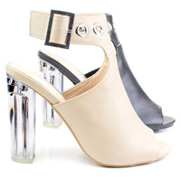 Morris64 Natural By Wild Diva, High Perspex Block Heel Bootie w Peep Toe & Large Ankle Buckle