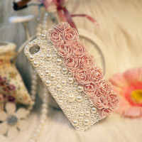 Pink Lace w/ Big Pearl iPhone 4/4s Case