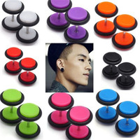 Mix 16Pcs Stainless Steel Colorful Fake Cheater Ear Plug Gauge Illusion Women Men Punk Style Body Pierceing Jewelry Accessories