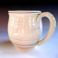White Lidded Mug with Blue and Green Accents - handthrown pottery