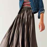 UO Metallic Pleated Midi Skirt | Urban Outfitters