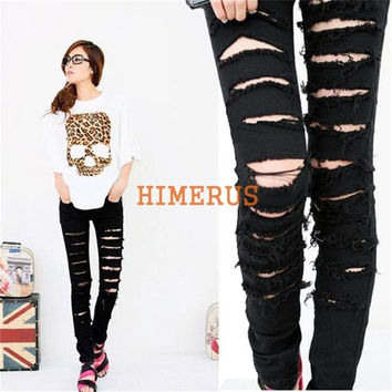 Women's Black Cotton Blend Denim Ripped Punk Cut-out Skinny Holes pants Jeans Jeggings Trousers [7655305734]